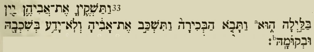 Gen 19,33 in der Biblia Hebraica Kittel