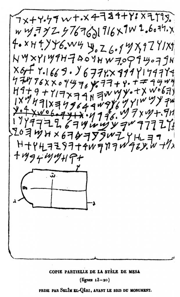 Älteste partielle Transkription der Inschrift auf der  Mesa-Stele