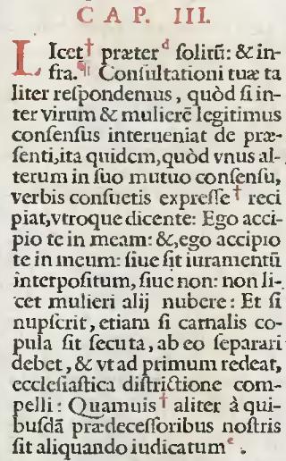 Gregor IX., Decretales, L. IV, Tit. IV, C.3 nach der Druckausgabe von 1582