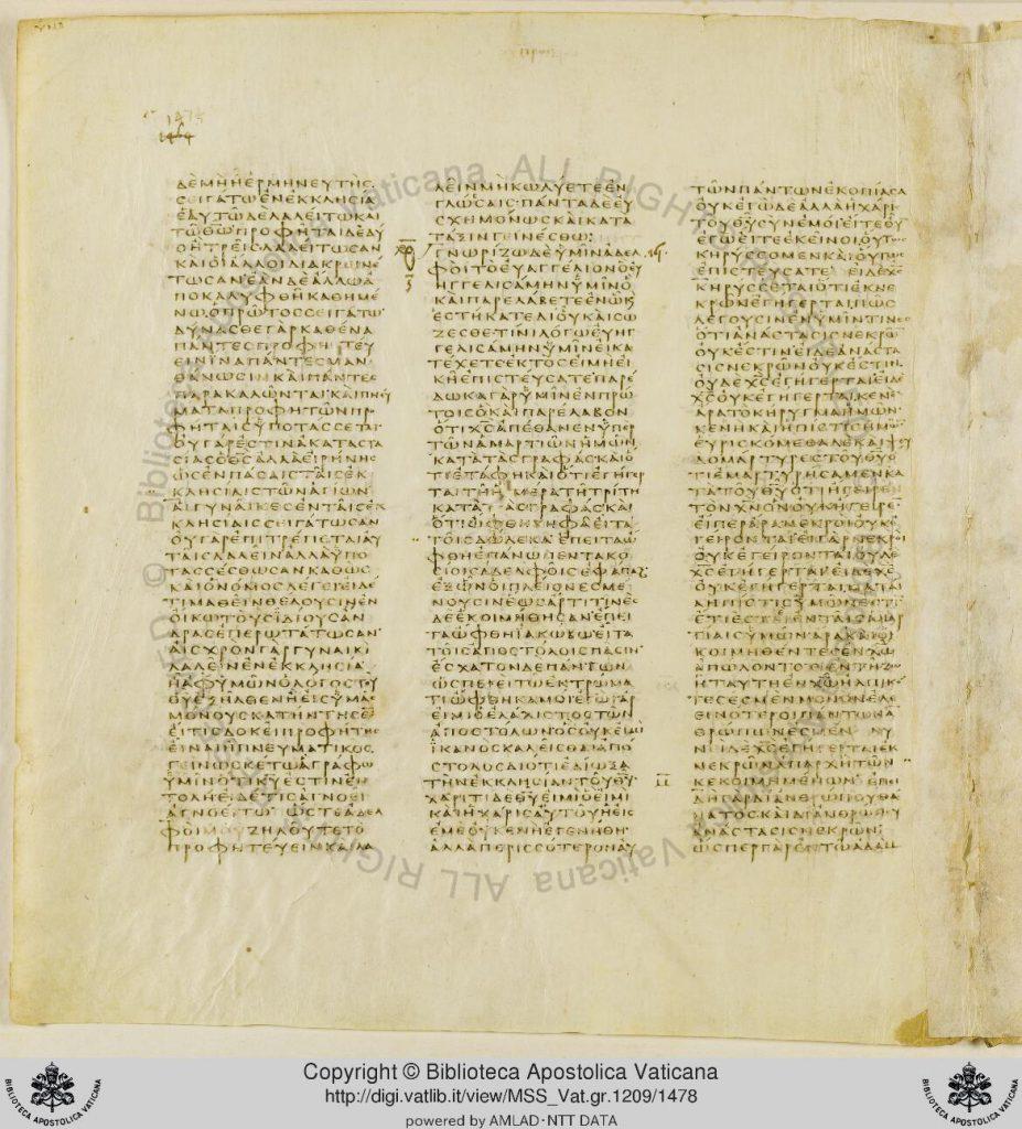 Seite 1474 des Codex Vaticanus; © Biblioteca Apostolica Vaticana