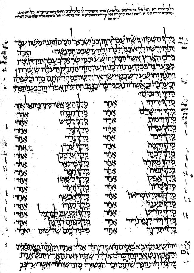 Jos 12 im Codex Leningradensis