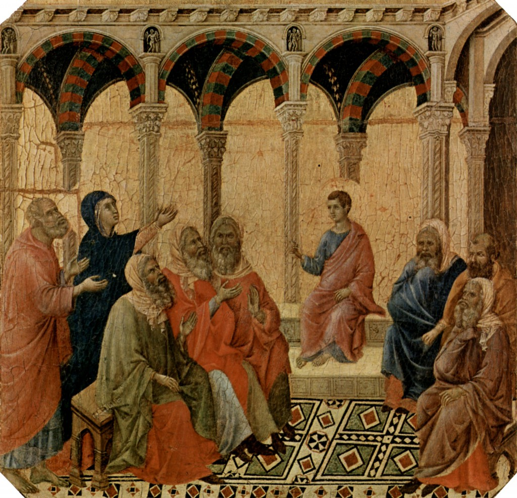 Duccio di Buoninsegna: Der zwölfjährige Jesus im Tempel; Quelle: zeno.org