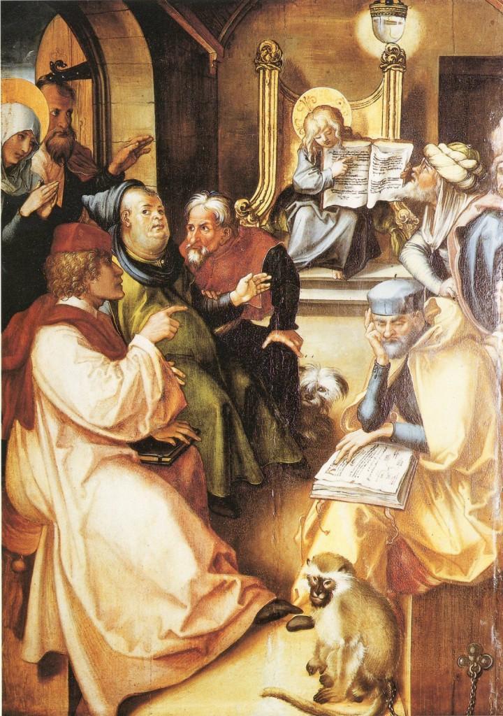 Albrecht Dürer: Die sieben Schmerzen Mariä: Der zwölfjährige Jesus im Tempel. Quelle: zeno.org
