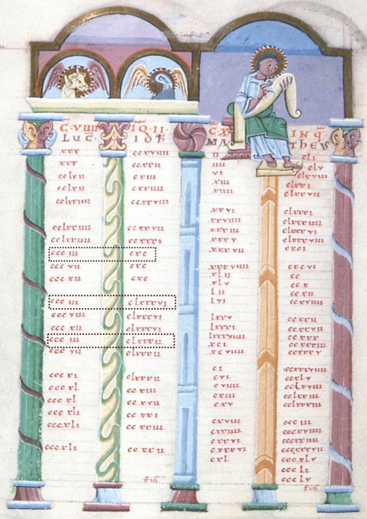 Tabelle IX und X des Eusebius; Reichenau, XI. Jh.