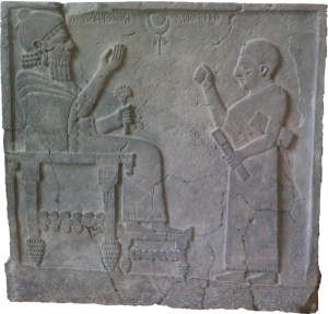 König Bar-Rakib mit seinem Schreiber; Nordsyrien, ca. 730 v. Chr.; Quelle: wikimedia commons
