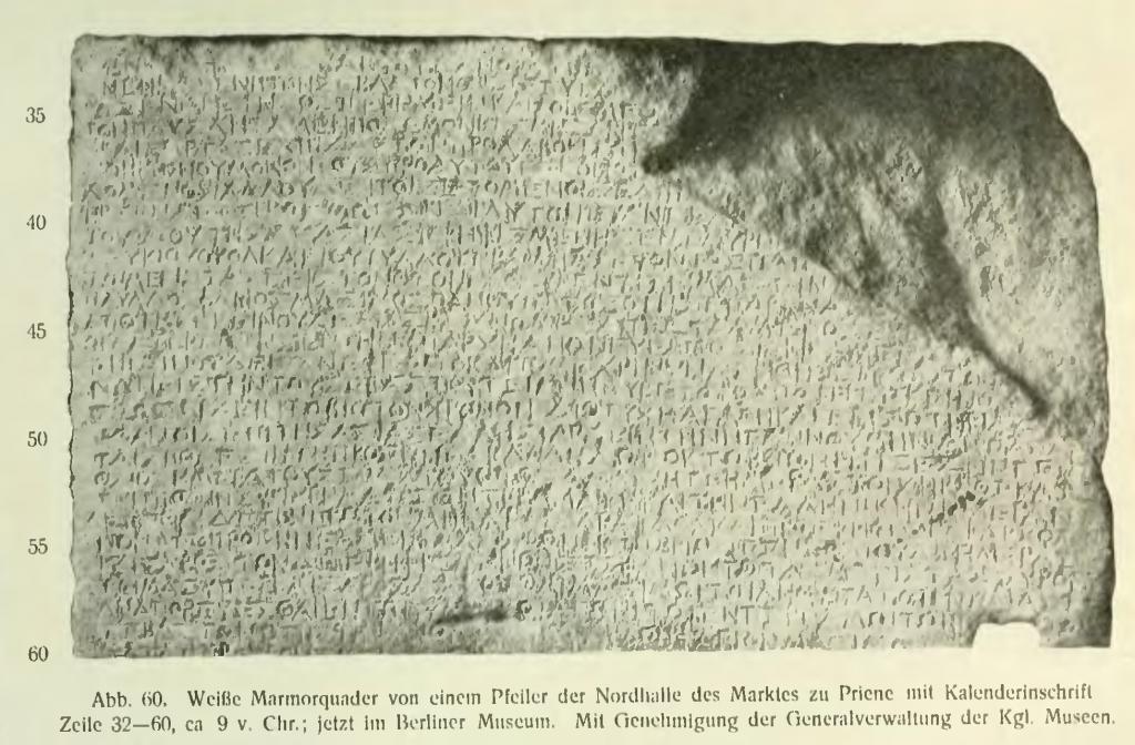Die Kalender Inschrift von Priene: aus A. Deissmann: Licht vom Osten