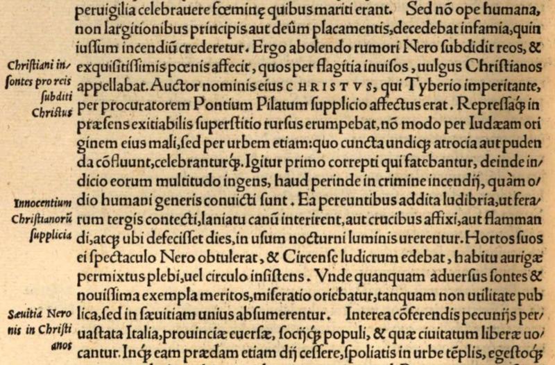 Publius Cornelius Tacitus: Aus den Annales XV, Druck Basel 1544; heute: Bayrische Staatsbibilothek