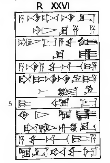 Hammurabi Anfang der Kol. XXVI
