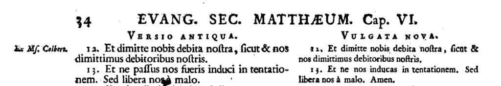 Vetus latina Text von Mt 6,13