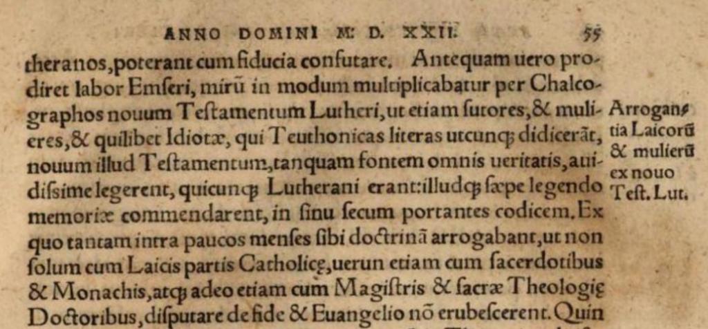 Johannes Cochlaeus über die Wirkung von Luthers NT deutsch