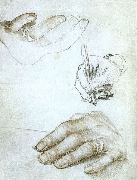 Hans Holbein: Studies of the Hands of Erasmus of Rotterdam