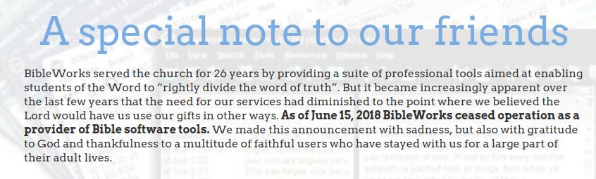 Das Ende von BibleWorks
